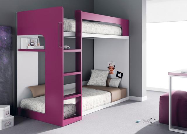 Litera con escalera integrada y la cama de abajo tipo tarima - Literas madrid ...