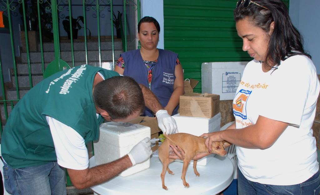Vacinadores do setor de Controle de Zoonoses em atendimento na comunidade do Rosário