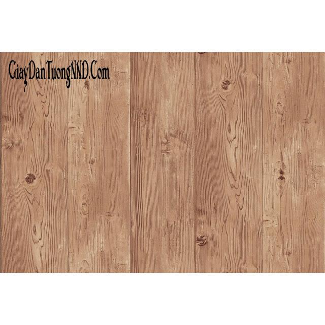 giấy dán tường phòng khách điểm nhấn giả gỗ