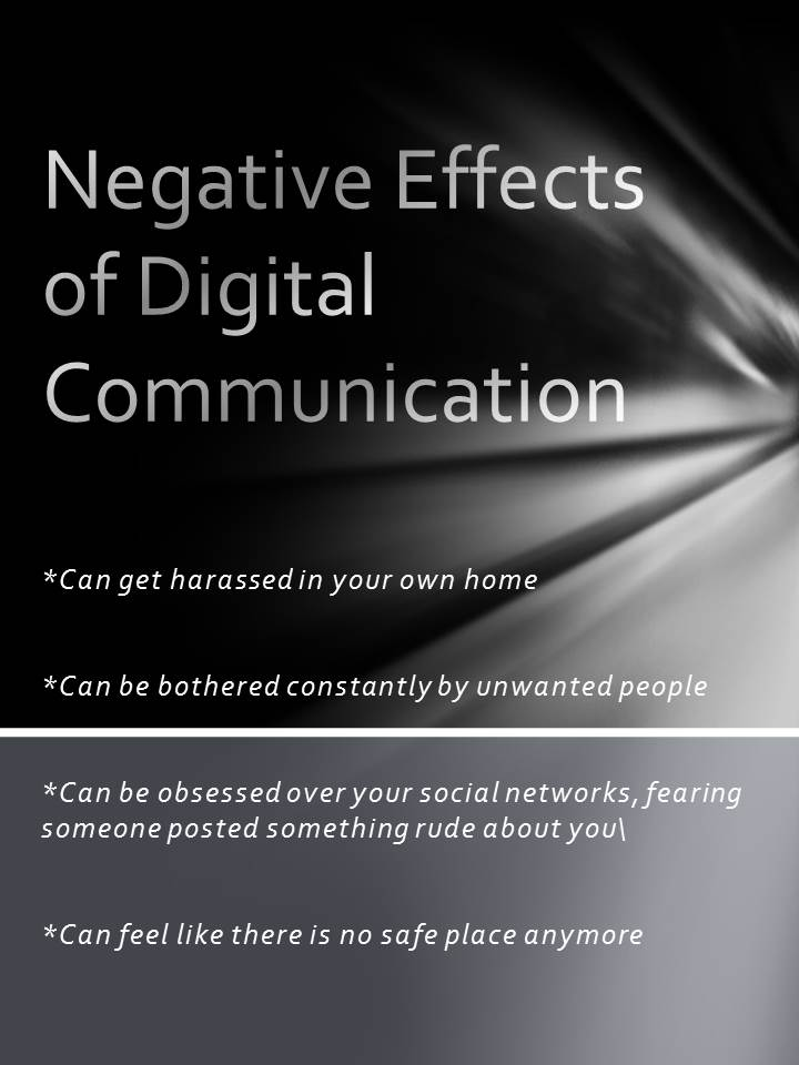 negative effects of communication However, today people have the ability to communicate and converse   although social media can negatively impact adolescent's social skills,.