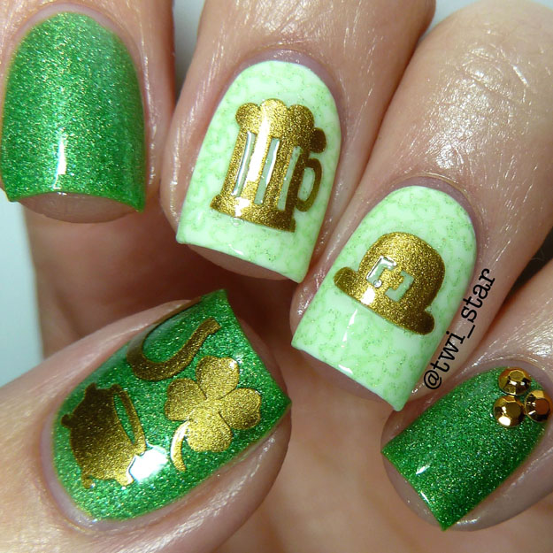 Love Angeline Green Holo Polish My Life Green Bikini St Patricks Day mani
