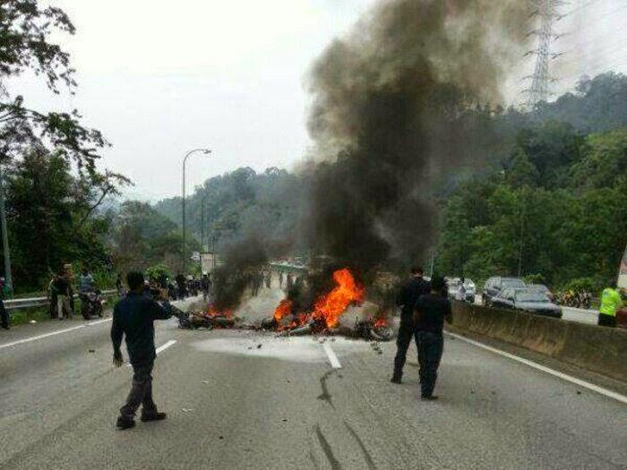 Kemalangan Maut Motosikal Kuasa Besar Terbakar Saksi Polis Dedahkan Punca