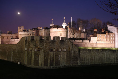 Moon over Tower of London