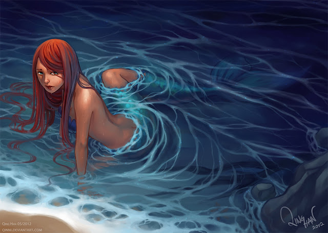 long hair mermaid orange hair original qinni water wallpaper desktop pc wallpaper a62
