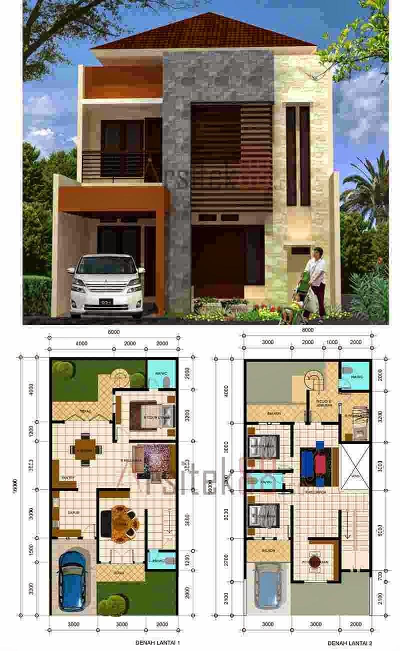 lantai sketsa architechi denah keren rumah minimalis 2 lantai sketsa ...