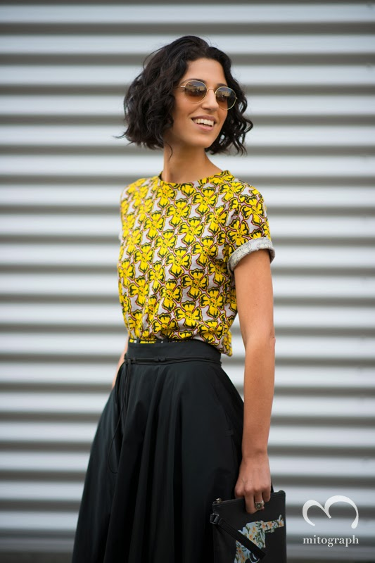 Yasmin Sewell wearing Etre Cecile Tshirt and Reece Hudson Clutch Bag at Dries Van Noten Show of Paris Fashion Week