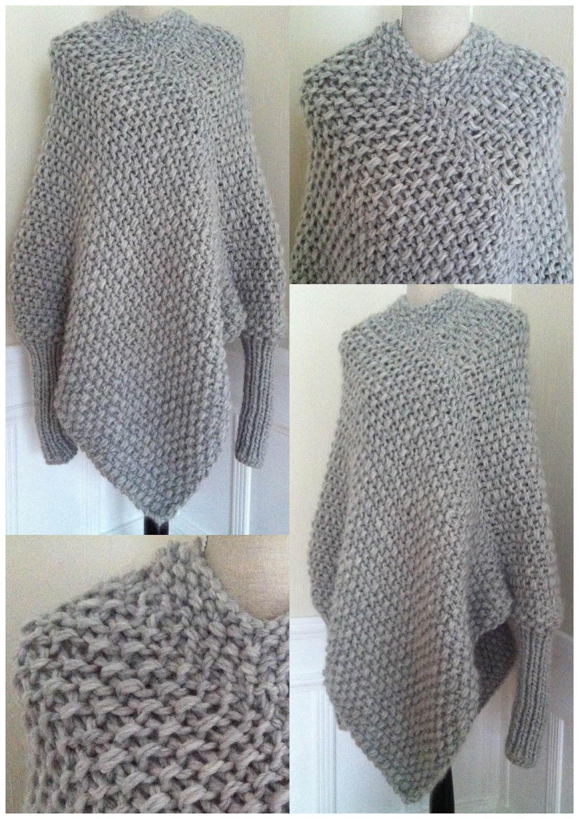 Knitting Pattern For Mens Poncho : marianne mirabelle: Strikket poncho genser med l?s hals og armer