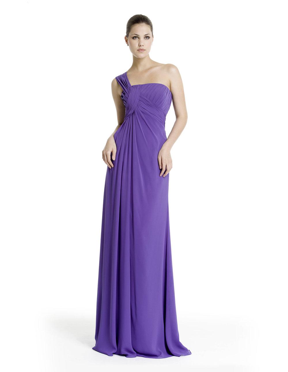 Long Purple Chiffon Bridesmaid Dresses