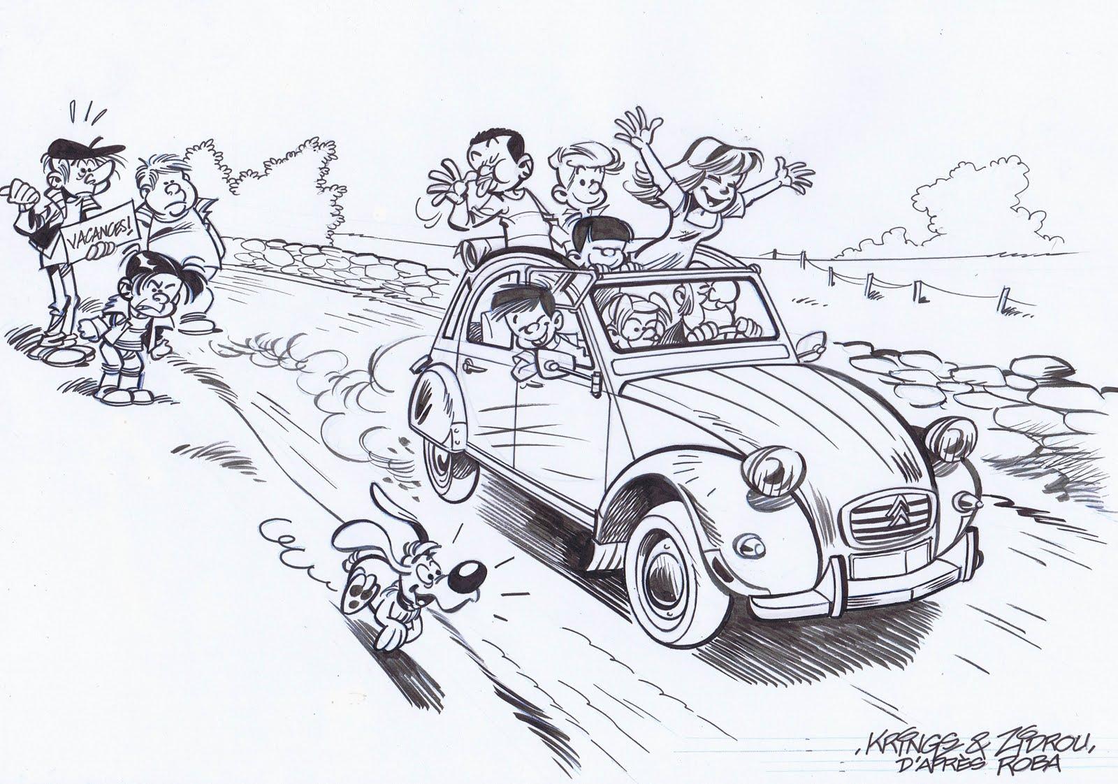 le blog  u00e0 dessin de krings  la ribambelle en 2cv