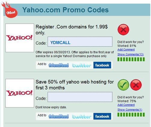 Yahoo Webhosting Promo Codes