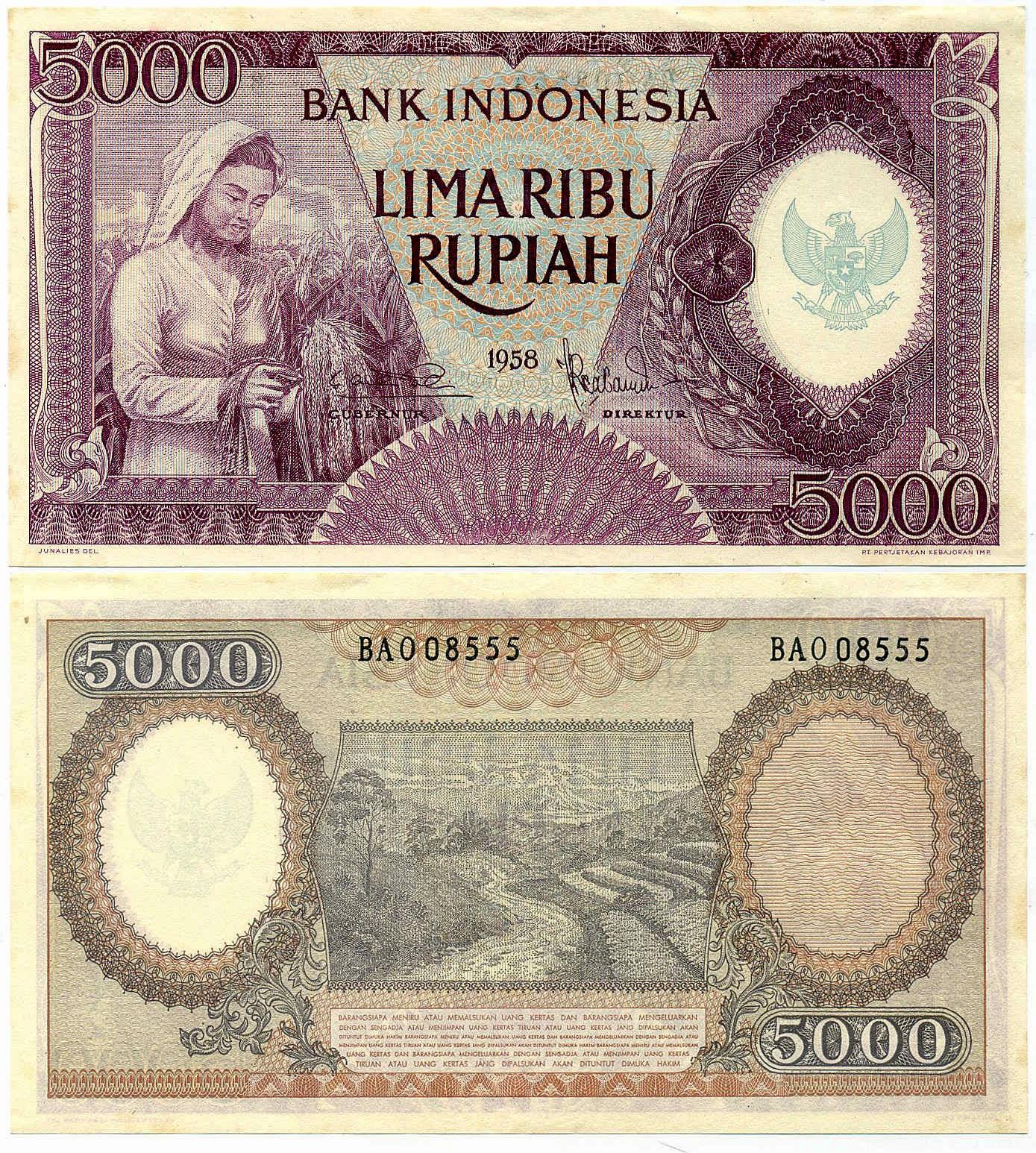 uang kuno Seri pekerja tangan tahun 1958 pecahan 5000 Violet