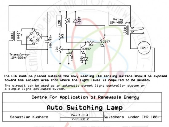 Automatic light activated switch circuit | Online Service Manual