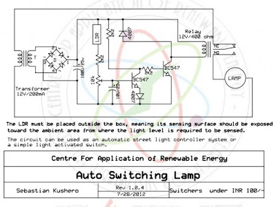 Automatic light activated switch circuit