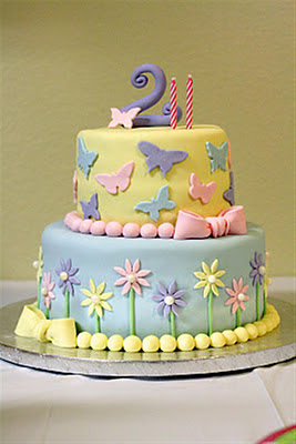 Patty Cakes Bakery Flowers and Butterflies Birthday Cake