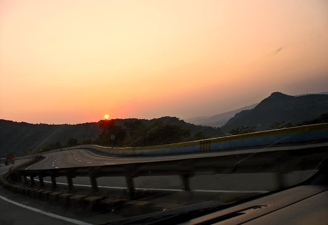 sunset on the mountains of the ghat section of the Mumbai Pune Expressway