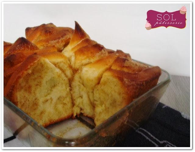 Brioche à effeuiller au sucre et à la cannelle - Pão doce em folhas com canela