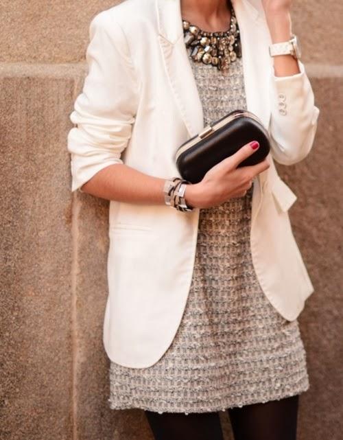 Off-white blazer, blouse and black leggings for fall