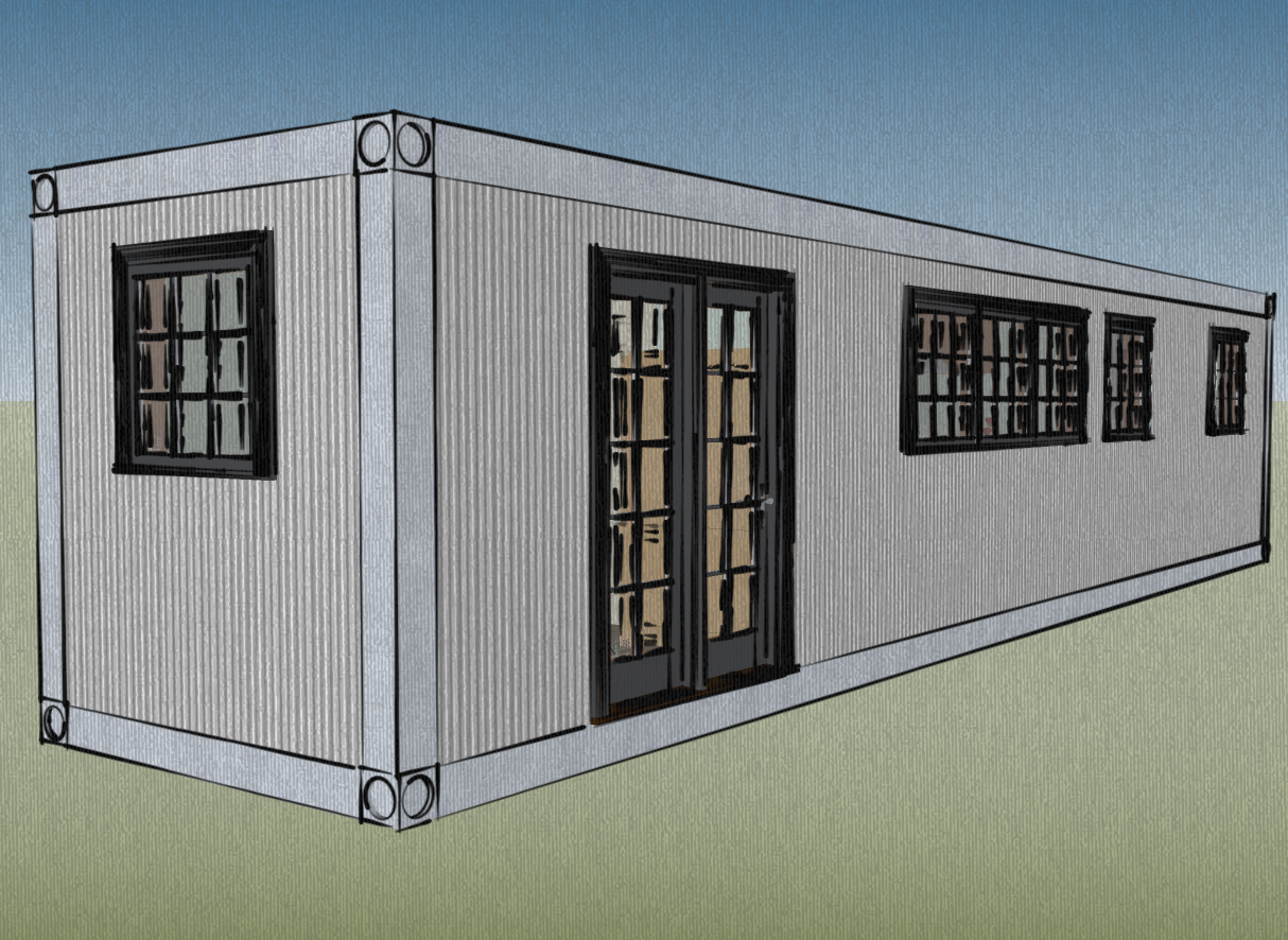 Small scale homes 8x40 shipping container home design for 3 40 ft container home