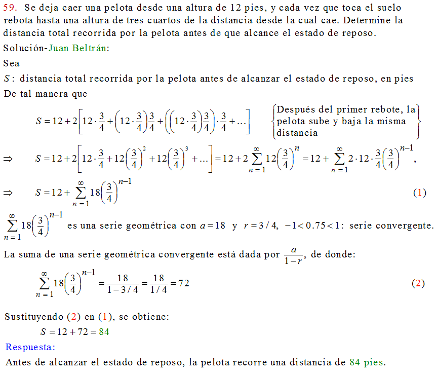 C�lculo21: Problema de aplicaci�n de series geom�tricas. Leithold ...