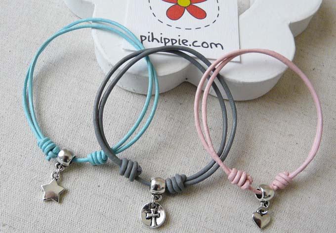 regalos comunion pulseras nia cuero colores original