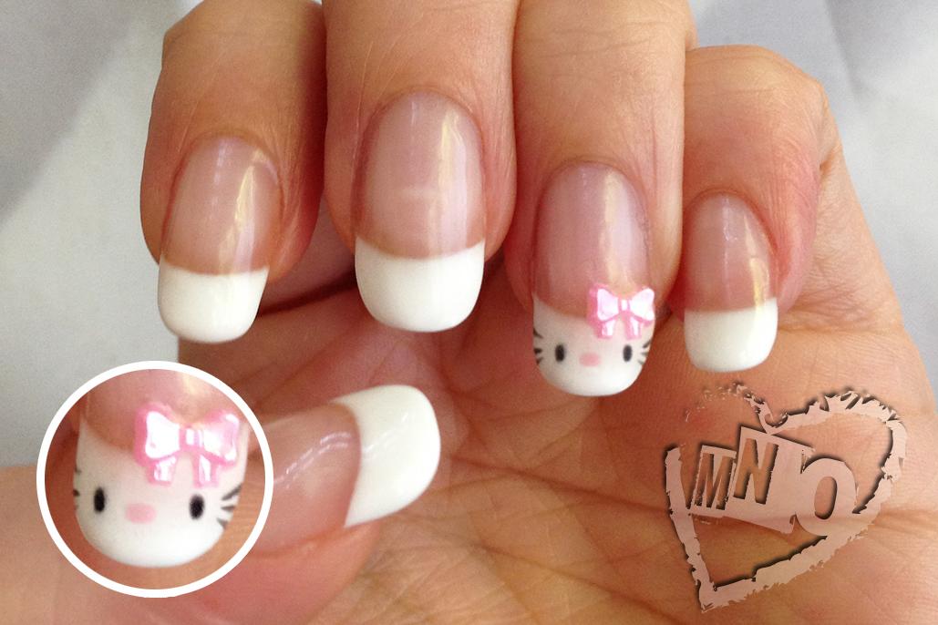 Mno cute hello kitty french manicure cute kawaii hello kitty nail art design gel easy bow prinsesfo Gallery