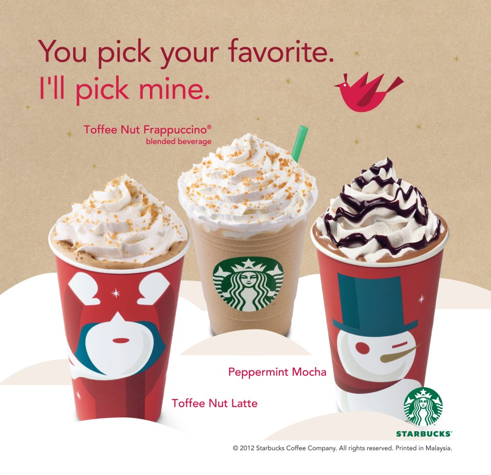 OhFISHiee Starbucks Christmas Beverages Amp Cards 2012
