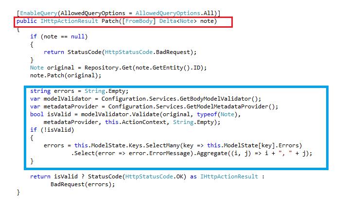 Perform Model Validation on a Web API OData v4.0 RESTful with ODataController for HTTP PATCH
