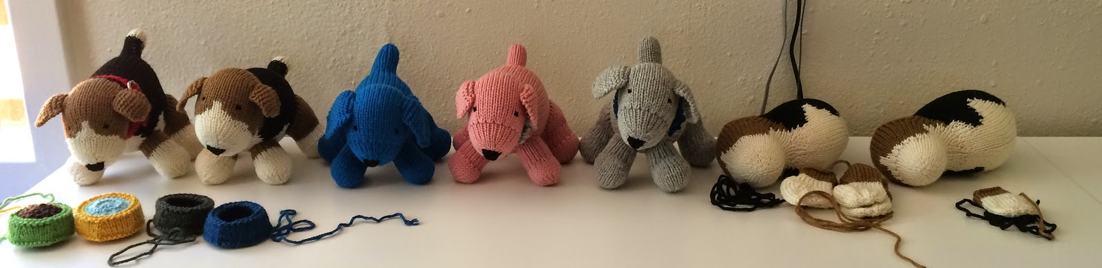 knit dog toy stuffed food water dishes pattern