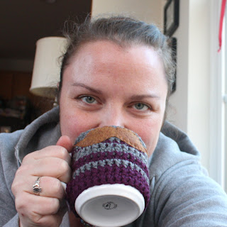 Mustachioed Mug Sweater || Made with Moxie.  Easy, beginner crochet project that makes a fun, funky gift!
