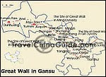 Map of Great Wall in Gansu