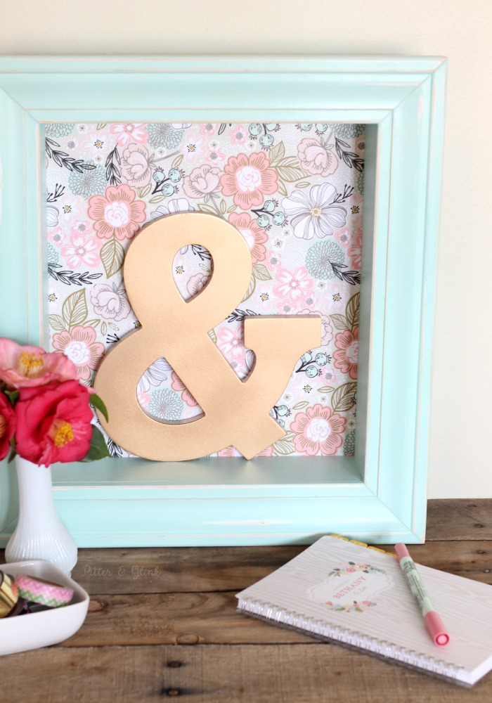 DIY Pastel Shadowbox Shelf--Gift wrap from Minted adds a pop of pattern for spring! pitterandglink.com #sponsored