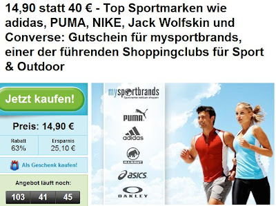 Groupon: mysportsbrands-Gutschein im Wert von 40 Euro für 14,90 Euro
