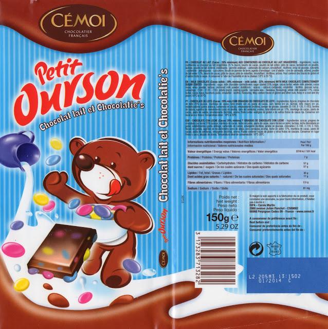tablette de chocolat lait gourmand cémoi petit ourson lait et chocolatie's