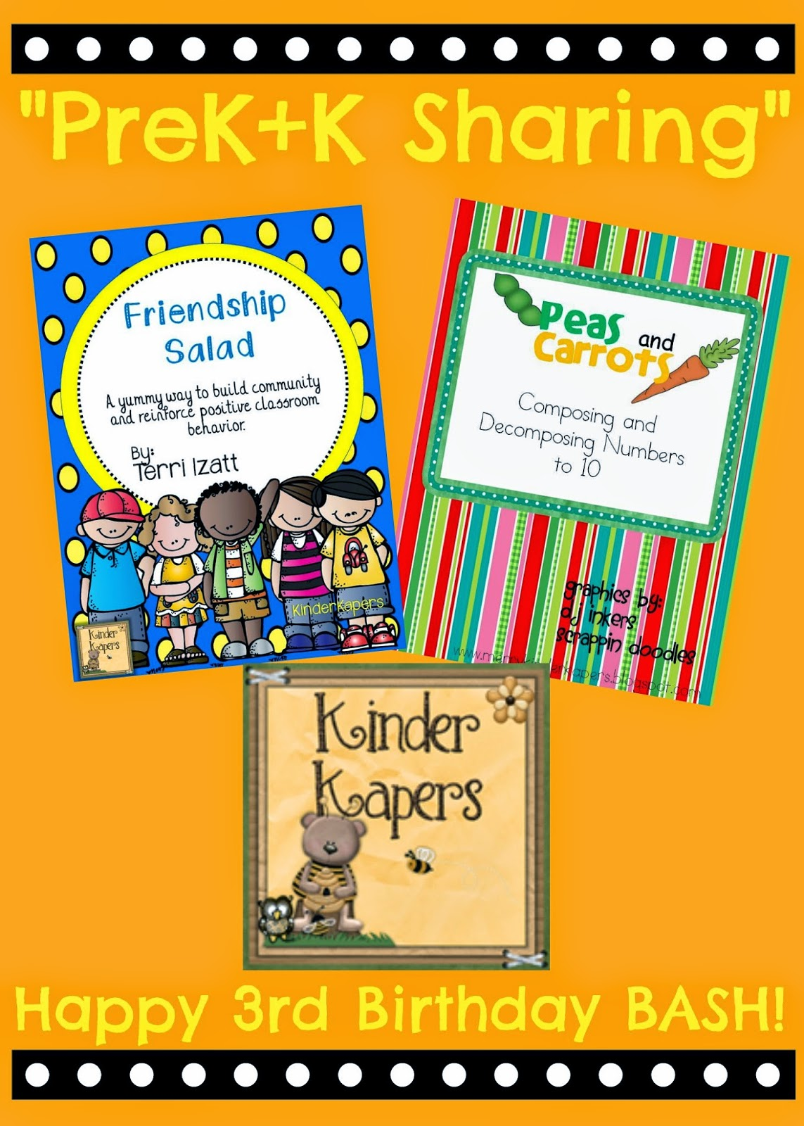 PreK+K Sharing Collaboration: THIRD Birthday Celebration Give Away prizes from KinderKapers