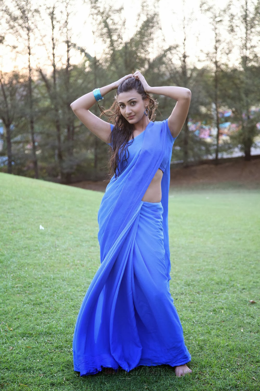 Neelam Upadhyay pics in Blue saree-HQ-Photo-16