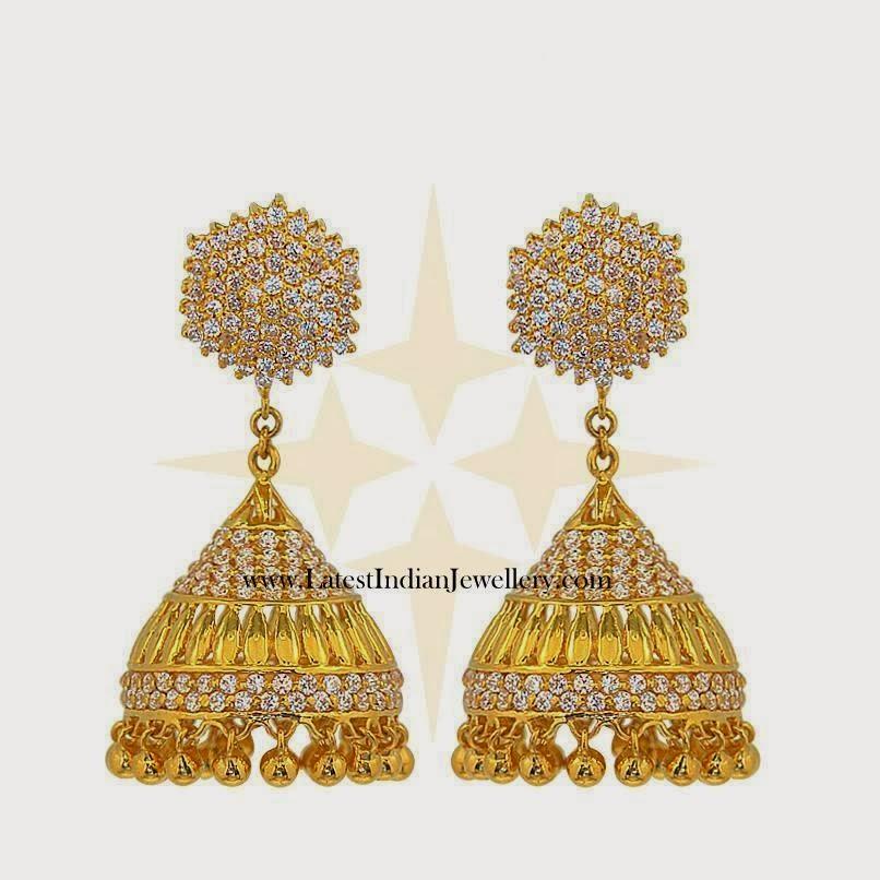 Gold white stone jhumki earrings