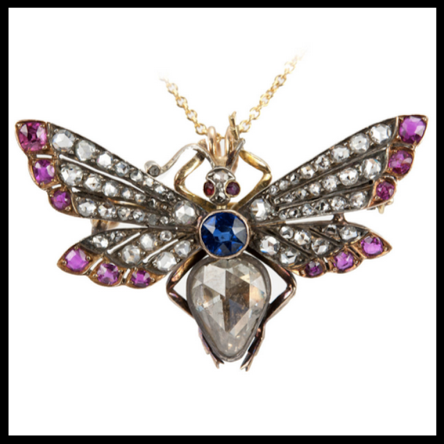 Jeweled Butterfly Estate Necklace Craig Evan Small