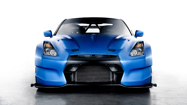Nissan GT-R blue race car HD Wallpaper