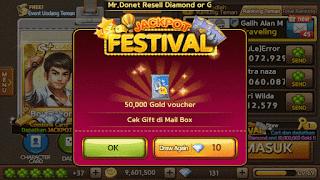 Ulasan dan Trik Jackpot Get Rich Mendapatkan Puluhan Juta Gold dan Diamond 7 Agustus 2015.