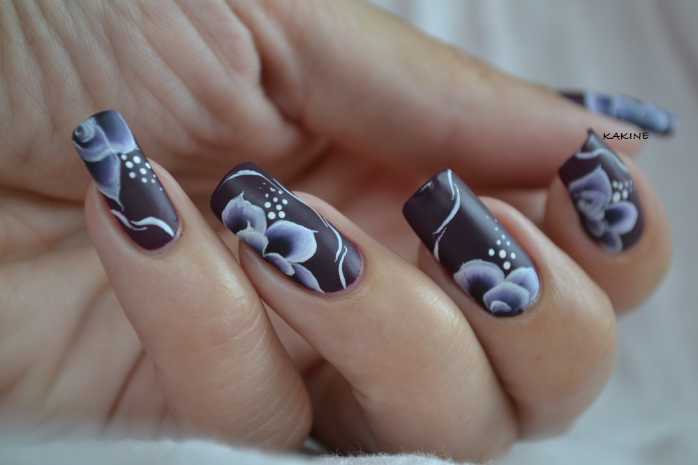 kakine nail art fleurs one stroke mat. Black Bedroom Furniture Sets. Home Design Ideas