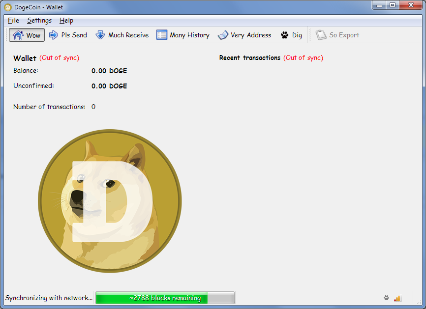 DogeCoin wallet downloading blockchains and saying syncing with network