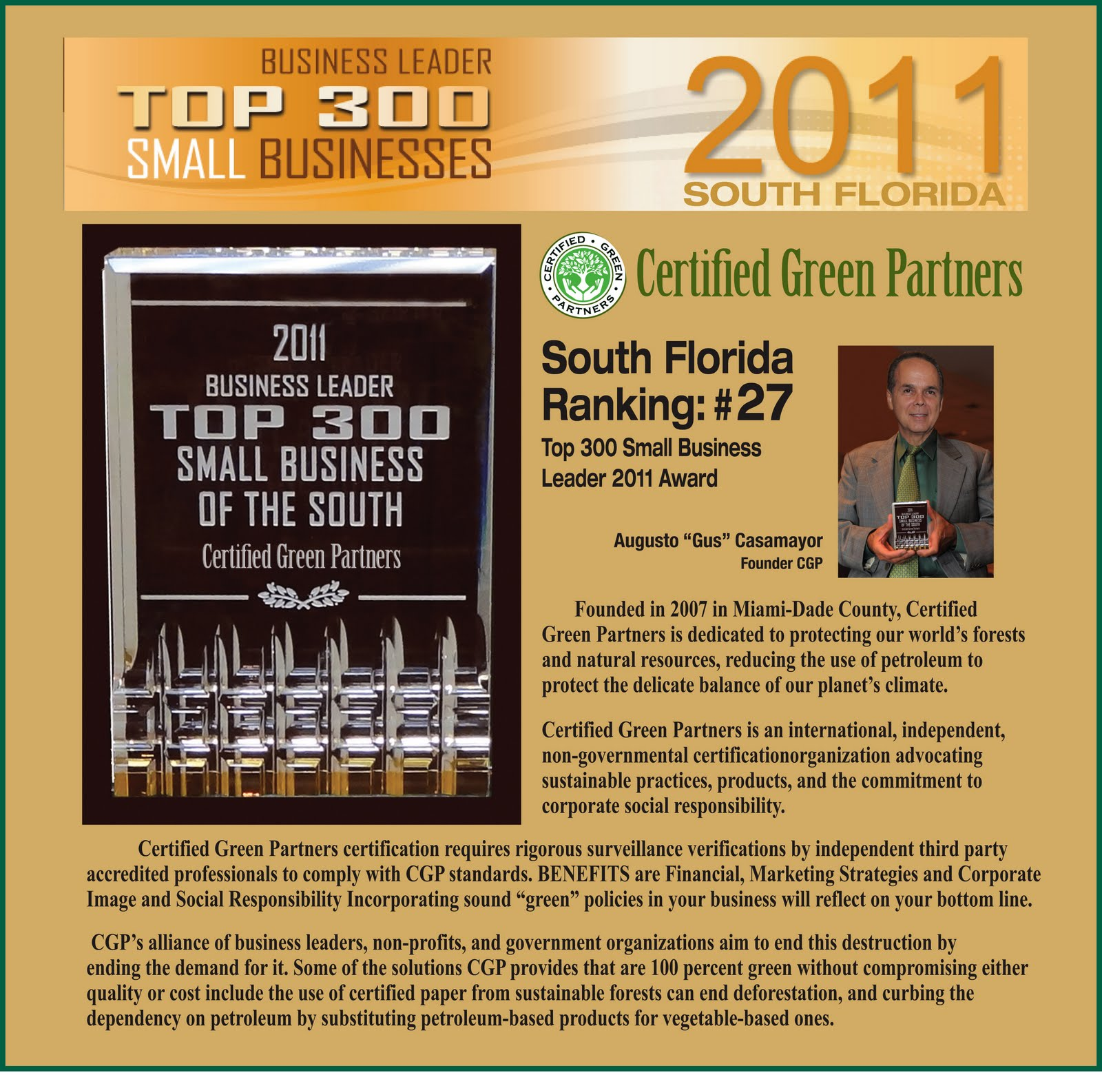 Certified green partners certified green partners ranked 27 south floridas top 300 small business leaders for 2011 1betcityfo Image collections