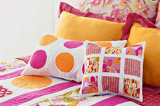 pink and orange mixed patterns cushions