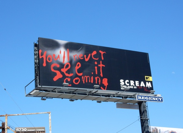 Scream You'll never see it coming billboard