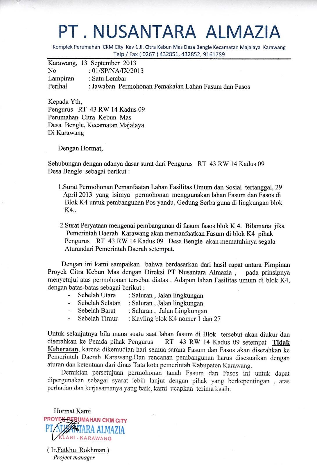 Contoh Surat Izin Penggunaan Fasos Surat 28