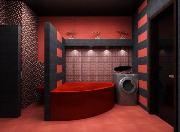 Decorar Un Baño Rojo:Diseño de Baño Rojo y Negro