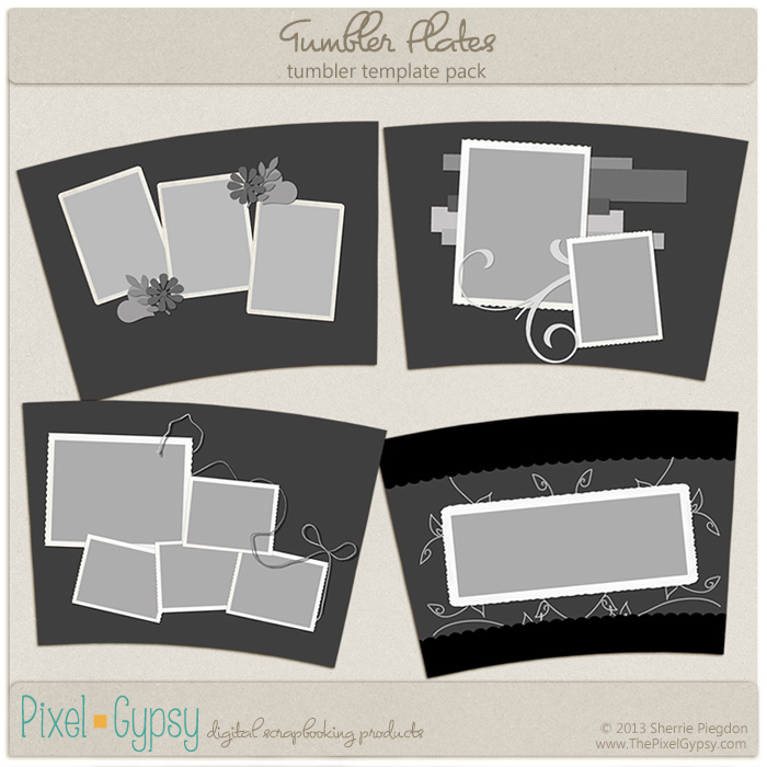 Tumbler Plates Beverage Tumbler Digital Scrapbooking Template Pack