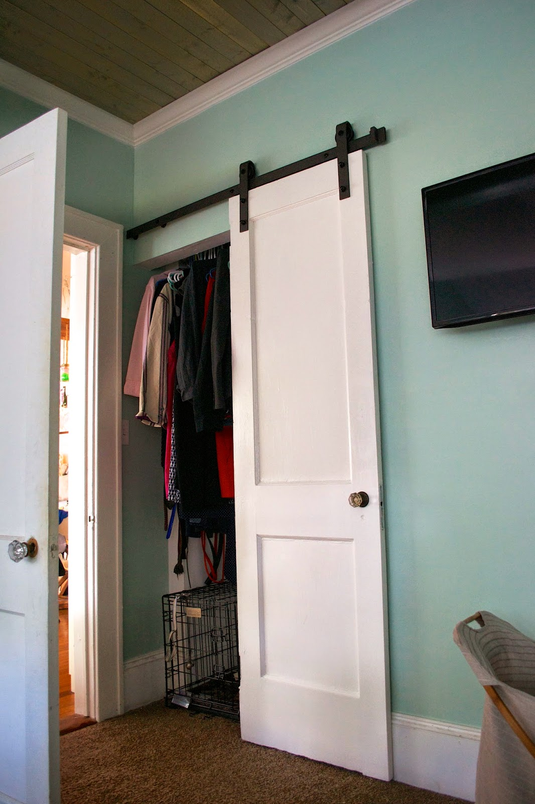 seesaws and sawhorses closet barn door. Black Bedroom Furniture Sets. Home Design Ideas