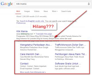 Penyebab Hilangnya Sitelink Dari Google