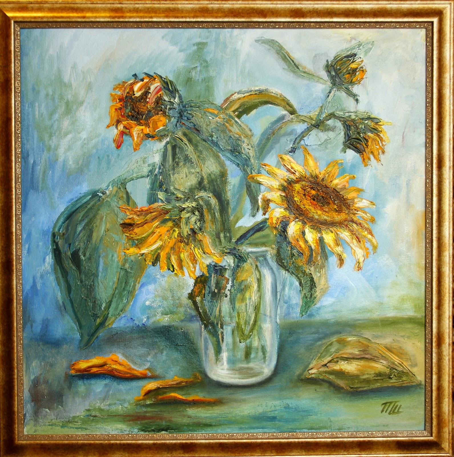 живописная картина маслом букет подсолнухов продажа картин